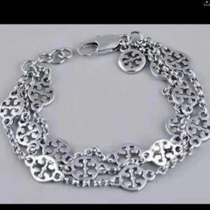 Tory Burch silver multi strand bracelet